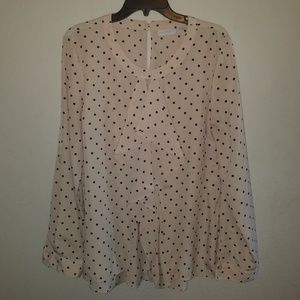 NY & Co. Pink Poet Blouse with Black Polka Dots